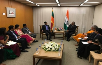 Gen. (Dr.) V.K. Singh (Retd), Minister State for External Affairs in a Bilateral meeting with His Excellency, Vasantha Senanayake, Minister of State for Sri Lanka, on August 6, 2017 at Manila during on the sidelines of 7th East Asia Summit (EAS) Foreign Ministers Meeting and 24th ASEAN Regional Forum (ARF)