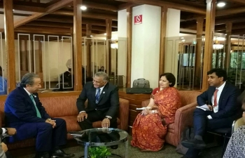 Pull aside with Foreign Minister of Malaysia, H.E. DATO SRI ANIFAH HJ AMAN and Minister of State of External Affairs, Gen. (Dr.) V.K. Singh, on 07 August 2017, Manila, Philippines