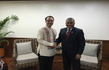 Minister of State, Gen. V.K. Singh (Retd), meeting with Alan Peter Cayetano, Secretary Foreign Affairs, Republic of the Philippines and Timor Leste Foreign Minister, Hernani Filomena Da Silva Coelho.