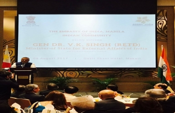 An Indian community reception was held on 8th August, 2017 to welcome Gen. (Dr.) V.K. Singh (Retd), Minister State of External Affairs. Over 300 guests attended the reception which included members of Indian community, person of Indian origin, friends of India and Filipino guests. Some photographs taken on the occasion