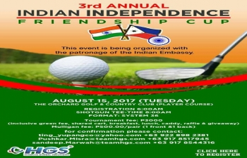 As a part of Indian Independence Day celebrations, a Golf tournament - Indian Independence Friendship Cup - is being organized on August 15, 2017 at the Orchard Golf amp Country Club.
