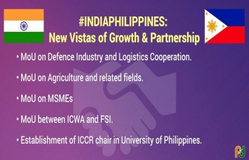 India and Philippines sign four MOUs and establishment of ICCR chair in Univeristy of Philippines
