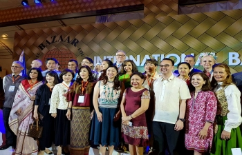 Ambassdor Jaideep Mazumdar and Mrs. Parvati Mazumdar along with the other members of the Embassy during the participation at the International Bazaar organised by the Department of Foreign Affairs, Philippines in cooperation with the Spouses of Heads of Mission.