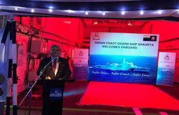 Ambassador Jaideep Mazumdar addressing a gathering of Ambassadors, Coast Guard officers of both India and the Philippines and Indian community members during an onboard reception on 1 December 2017.