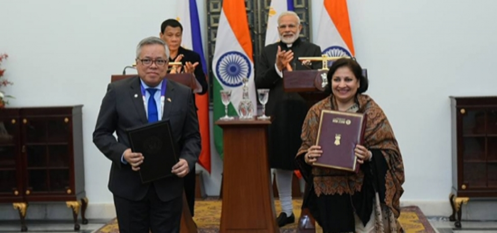 MoUs being exchanged between India and the Philippines during the visit of H.E Rodrigo Roa Duterte,the President of the Philippines to India for the ASEAN-India Commemorative Summit