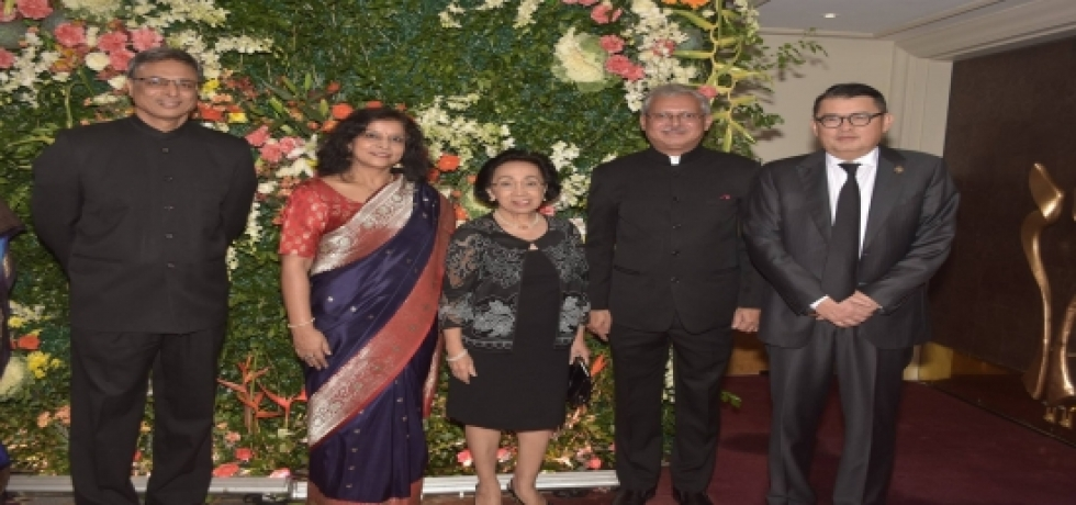 Ambassador Jaideep Mazumdar and Mrs. Mazumdar with Padma Shri awardee Mr. Joey Concepcion during the 69th Republic Day Reception.Also seen in the photo are Ms. Delia Albert, former Secretary of Foreign Affairs of the Philippines (center) and First Secretary-Political Mr. N Ramakrishnan (extreme left)