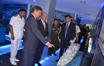 SECRETARY NATIONAL DEFENSE Delfin Lorenzana visited the Western Naval Command where he was hosted by VAdm Girish Luthra, Flag Officer Commanding in Chief Western Naval Command (FOCINC WEST).