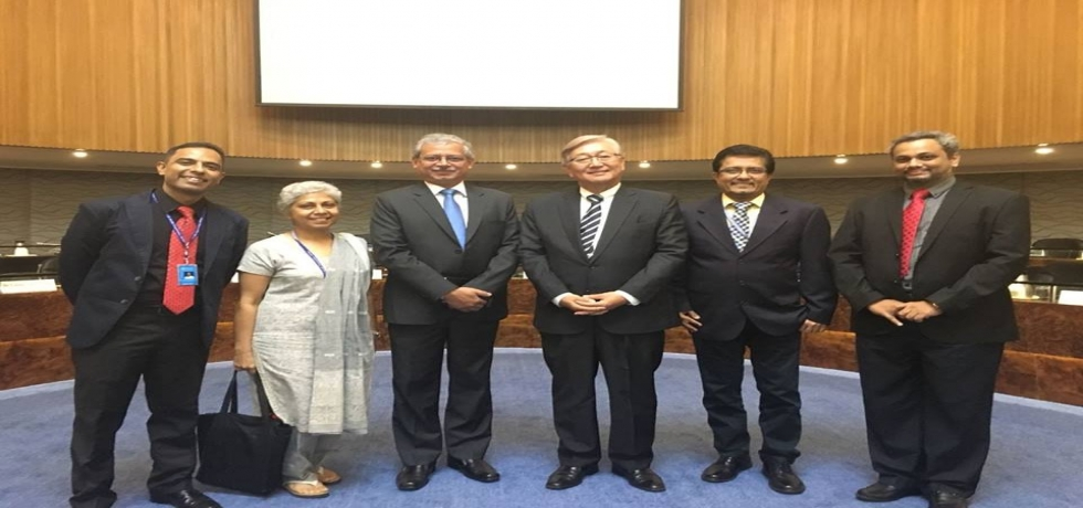 Ambassador Jaideep Mazumdar attended the celebration of completion of 70 years of World Health Organization(WHO) at the WHO Regional Office in Manila.In the picture he is seen with Dr. Shin Young-soo, the WHO Regional Director and WHO Indian staff.