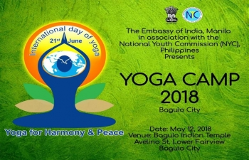 Embassy of India along with the National Youth Commission of the Philippines welcomes you to join the Yoga Camp in the City of Baguio on 12 May 2018.