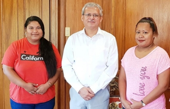 The first two Solar Mammas from the Republic of Palau ,Ms. Iolanny T. Dwight and Ms. Jaelene B. Kebekol visited the Embassy in Manila and met Ambassador Mazumdar on their way to India for a six month course at the Barefoot College at Jaipur, Rajasthan.