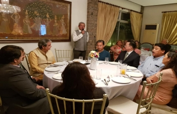 Amb. Jaideep Mazumdar making his opening remarks during a dinner at India House hosted in honour of the Indian Awardees of the 2018 Ramon Magsaysay Awards, Mr. Sonam Wangchuk and Dr. Bharat Vatwani.Various Ambassadors, members of diplomatic and business community, officials of the Government of the Philippines attended the event and interacted with the winners.