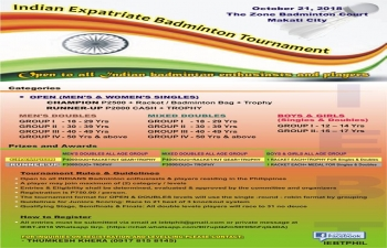 IEBT Philippines in association with the Embassy of India invites you to join the 2018 Indian Expatriate Badminton Tournament this coming October 21, 2018 at the Zone Badminton Court, Makati City. This tournament is open to all INDIAN badminton enthusiasts and players. For inquiries regarding the registration and levelling, please contact Mr. Thumesh Khera (09178158145).