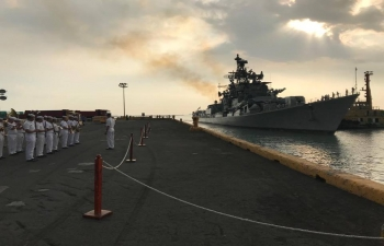 The formidable Indian Navy multi-role missile Destroyer INS RANA steams into MANILA Bay on a visit to the Philippines from 23- 26 October, 2018.