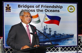 Ambassador Jaideep Mazumdar and Commanding Officer of INS Rana, Captain Atul Deswal jointly hosted a Reception on-board the visiting Indian Navy Destroyer, INS Rana on 24 October 2018 at Pier 15, South Harbour, Manila. Ambassadors from various countries, other members of the diplomatic community, Defence Attaches, senior representatives from Department of National Defense, Department of Foreign Affairs and Armed Forces of the Philippines, representatives from media and distinguished members of the Indian community attended the event.
