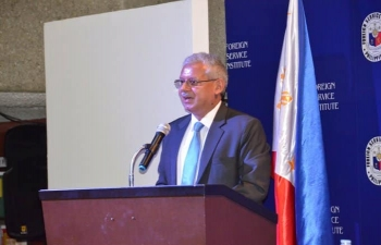 Ambassador Jaideep Mazumdar addressed the Foreign Service Institute, an autonomous think tank under the DFA of the Philippines. Senior diplomats and defence ministry officers had a lively interaction on Indo Pacific, Act East Policy and regional issues.