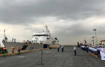 ICGS Shaunak arrives in Manila on 1st February 2019 on the occasion of Indian Coast Guard Day.