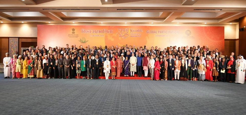 Citizens of the world come together to celebrate Kumbh - India's intangible heritage! The world in one frame as Prime Minister Narendra Modi and EAM Sushma Swaraj join citizens from 182 countries who had come to participate in the largest gathering of humanity on earth.Prof. Joefe Santarita, Dean of the Asian Center-University of the Philippines, Diliman and Ms. Diljune Etpison Ngiraswei of Palau participated in the event.