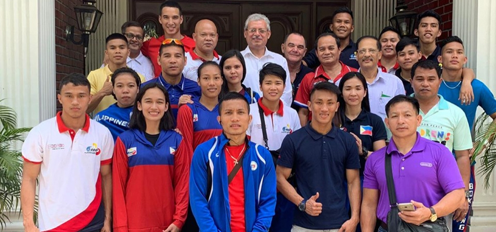 Ambassador Jaideep Mazumdar with members of the Philippine National Boxing team who will participate in the 2nd Indian Open Boxing Tournament and Joint Traning Camp on May 19-June 11, 2019 in Guwahati, India.