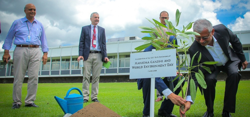 Ambassador Jaideep Mazumdar and Dr. Peter Brothers Chief of Staff of International Rice Research Institute in Philippines, planting a tree at Los Banos to mark the celebration of World Environment Day & 150 years of Mahatma Gandhi, in the Philippines on 7 June 2019