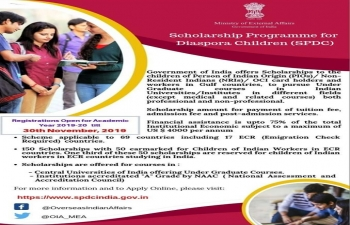 "The Ministry of External Affairs has launched ""Scholarship Programme for Diaspora Children"" (SPDC)."