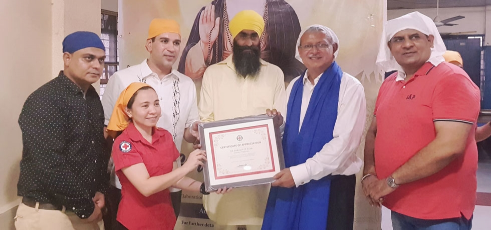 Blood Donation Drive and Langar organized by the Embassy of India, Manila in collaboration with Philippine Red Cross and local Gurudwaras to commemorate the 550th Birth Anniversary of Guru Nanak Dev Ji on 11 August 2019 throughout the Philippines. The event at Khalsa Diwan Sikh Temple in Paco, Manila was graced by Ambassador Jaideep Mazumdar and Dr. Sheryll Tonelete of the Philippine Red Cross. Both locals and Indian community members enthusiastically participated and hundreds of them successfully donated blood during the drive.