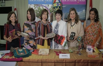 Spouse of Ambassador of India to the Philippines Mrs. Parvati C. Mazumdar with Spouse of Secretary of Foreign Affairs and IBF Chairperson Mrs. Maria Lourdes Locsin, SHOM President Susan Fries, IBF President Helen Ong and others at the India booth during the Press Conference ahead of International Bazaar 2019.