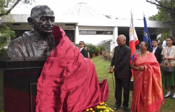 Unveiling of Mahatma Gandhi's bust at Center for Peace Education, Miriam College, Philippines by Hon. President of India Shri. Ram Nath Kovind on 20 October 2019 to commemorate 150th Birth Anniversary of Mahatma Gandhi.