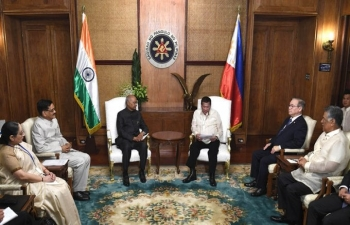 Exchange of 4 MoUs between India and the Philippines during the visit of Hon. President of India Shri. Ram Nath Kovind to the Philippines on 18 October 2019.
