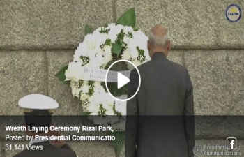 Wreath laying ceremony by Hon. President of India Shri. Ram Nath Kovind at Rizal Park in Manila on 18 October 2019.