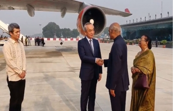 Arrival of Hon. President of India Shri. Ram Nath Kovind at Ninoy Aquino International Airport, Manila, Philippines on 17 October 2019.