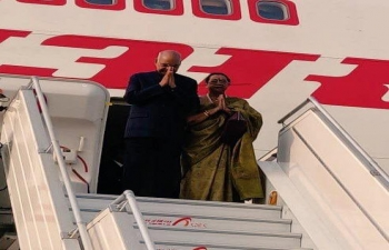 Hon. President of India Shri. Ram Nath Kovind during his arrival at Ninoy Aquino International Airport for his visit to the Philippines on 17 October 2019.