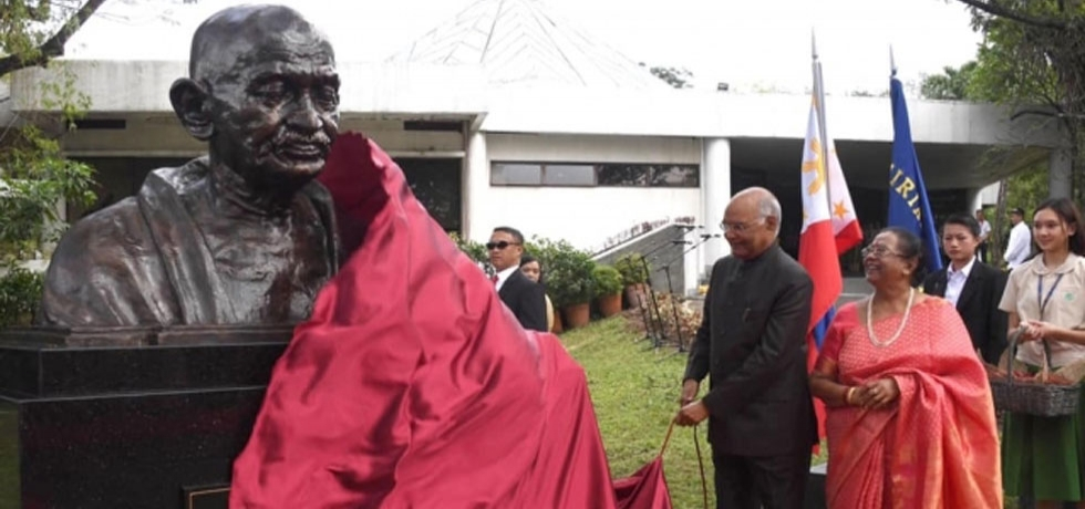 To commemorate the 150th Birth Anniversary of Mahatma Gandhi, Hon. President of India Shri. Ram Nath Kovind unveiled his bronze bust at the Centre for Peace Education of Miriam College,Philippines on 20 October 2019.