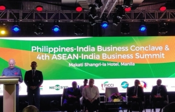 Hon. President of India Shri. Ram Nath Kovind addressing the gathering during the Philippine-India Business Conclave and 4th ASEAN-India Business Summit on 19 October 2019.