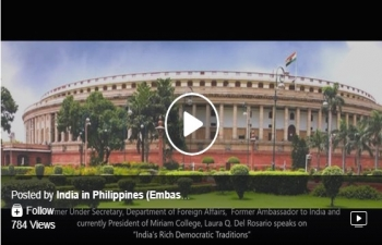 """Former Under Secretary of the Department of Foreign Affairs, Former Ambassador of the Philippines to India, and currently the President of Miriam College (formerly Maryknoll), Laura Q. Del Rosario speaks on """"India's Rich Democratic Traditions""""."""