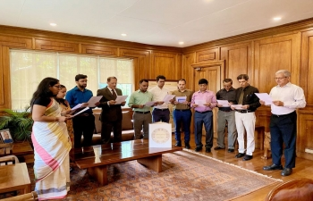 Ambassador Jaideep Mazumdar along with the Embassy officials and staff reading the Preamble of the Indian Constitution as part of the commemoration of the Constitution Day of India on 26 November 2019.