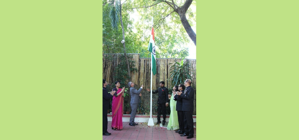 H.E Ambassador Jaideep Mazumdar unfurling the Indian National Flag during the Flag Hoisting Ceremony on the occasion of the 71st Republic Day of India at India House in Manila on 26th January 2020.