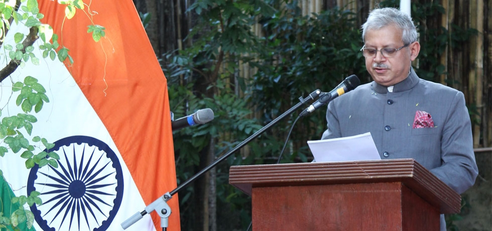 H.E Ambassador Jaideep Mazumdar reads out the President of India's message to the nation during the Flag Hoisting Ceremony on the occasion of the 71st Republic Day of India at India House in Manila on 26th January 2020.