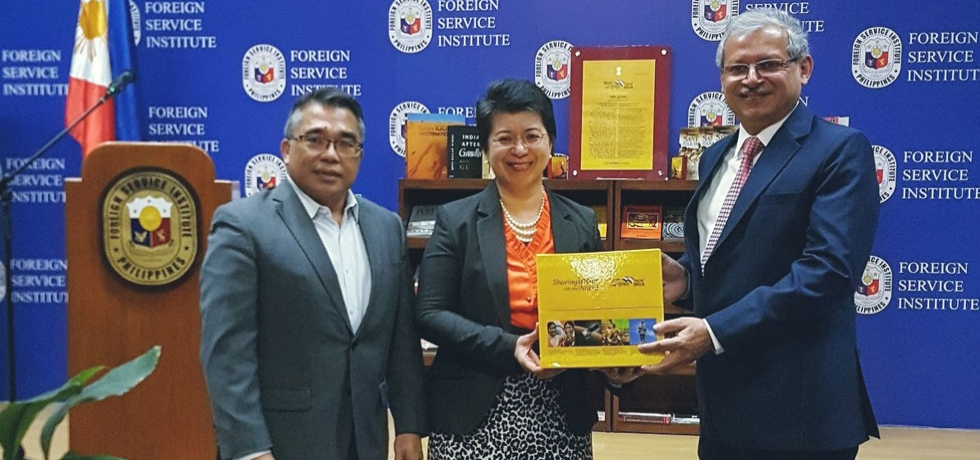H.E Ambassador Jaideep Mazumdar presented #BharatEkParichay sets of books to Carlos P. Romulo Library of the Foreign Service Institute of the Philippines on 13 February 2020.