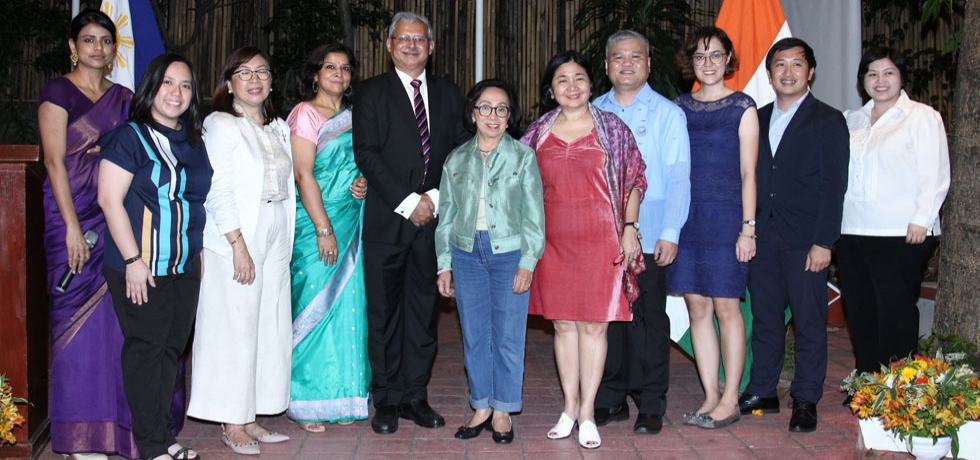 Ambassador Jaideep Mazumdar along with Mrs. Parvati C. Mazumdar; former Secretary of Foreign Affairs of the Philippines and Chairperson of Diwata Foundation, Ambassador Delia Albert; Vice President for Academics of National Defense College of the Philippines, Dr. Teresita Atienza; Executive Director of TESDA (Technical Education and Skills Development Authority) of the Philippines, Ms. Sonia Lipio; Acting Director of Office of Asia & Pacific Affairs - Division IV of the DFA, Ms. Anna Marie C. Santos, First Secretary (Pol & Cul) & ITEC in-charge, Ms. Nidhi Choudhary; and ITEC Alumni during the celebration of ITEC Day 2019 in India House Manila on 28 February 2020.