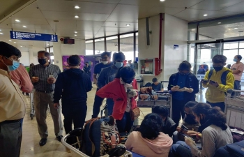 Embassy of India, Manila officials reach out to the Indian students in the Philippines at Ninoy Aquino International Airport (NAIA), Manila on 18 March 2020.