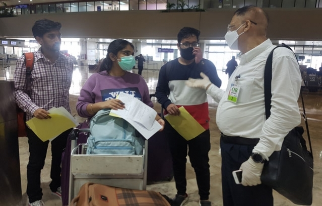 Embassy officials assisting passengers of Air India AI 1375 flight from Manila to Ahmedabad (Gujarat), scheduled to take off from Manila International Airport