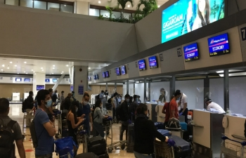 The Embassy of India, Manila facilitated the departure of the first batch of 335 seafarers stranded in Manila to Mumbai on a Charter flight PR8724.