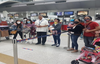 Stranded Filipino nationals return to Manila by Air India AI 1310 special rescue flight organized by the Government of India.