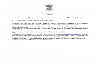Embassy of India, Manila is inviting application for the post of Marketing Assistant