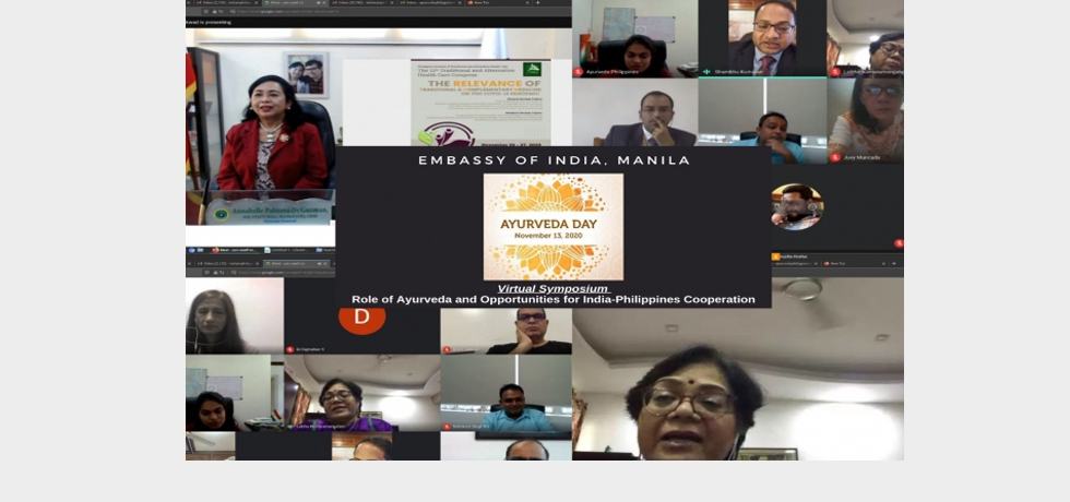 Ayurveda Day : Virtual Symposium on 'Role of Ayurveda and Opportunities for India-Philippines Cooperation'